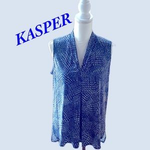 NWT. Kasper  High/Low Pleat Neck Knot Top